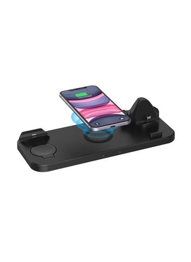 marstec Marstec Samsung Apple 6 'sı Bir Arada Kablosuz Hızlı Şarj İstasyonu Standı iPhone Siyah